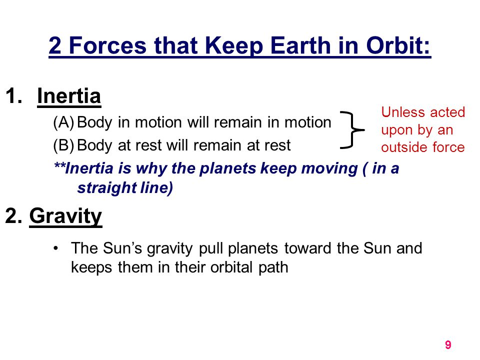 2 Forces that Keep Earth in Orbit: