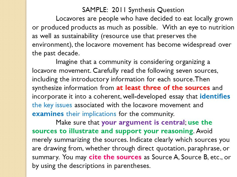 See Chapter  In The Language Of Composition For More Info  Ppt  Sample  Synthesis Question