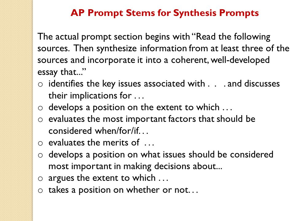 AP Prompt Stems for Synthesis Prompts