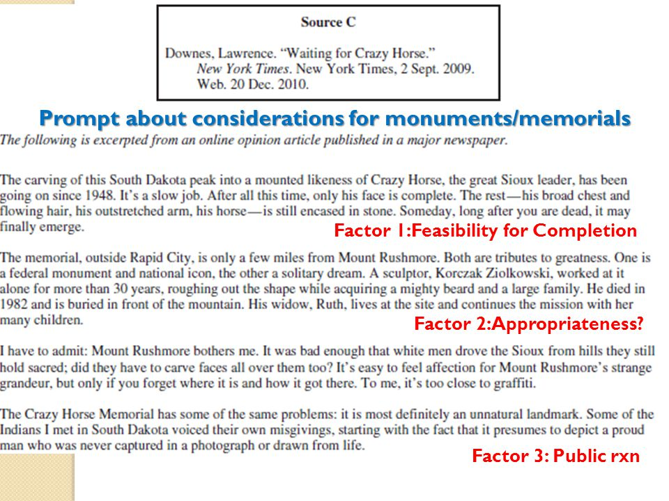 Prompt about considerations for monuments/memorials