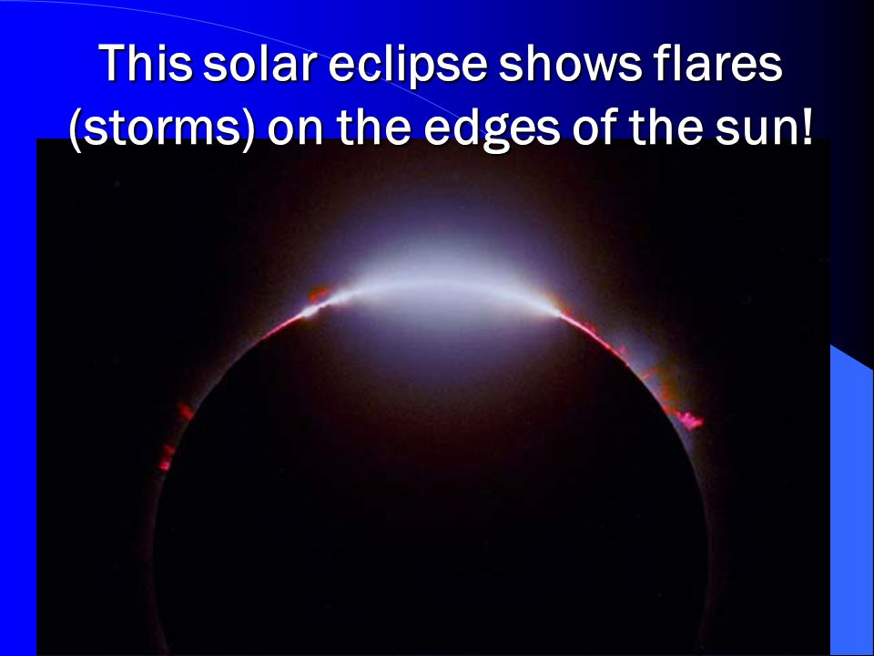 This solar eclipse shows flares (storms) on the edges of the sun!