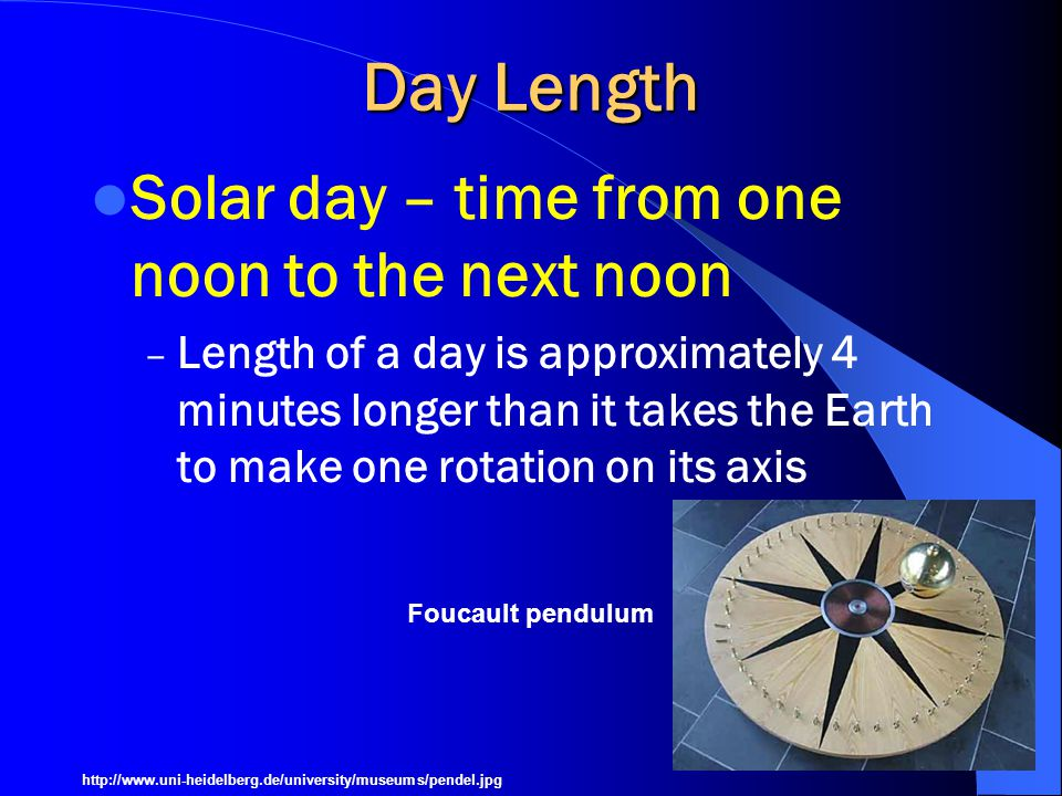 Day Length Solar day – time from one noon to the next noon
