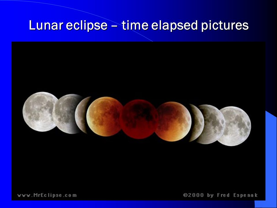 Lunar eclipse – time elapsed pictures