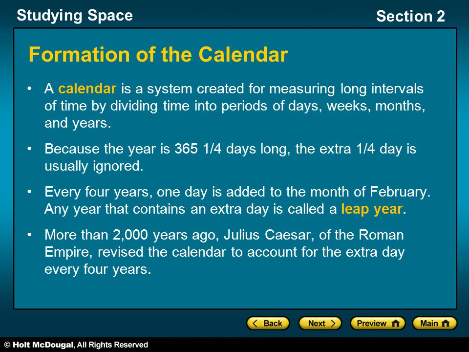 Formation of the Calendar