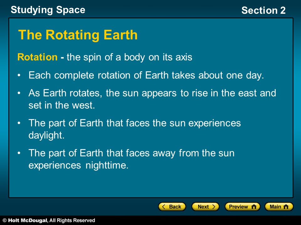 The Rotating Earth Rotation - the spin of a body on its axis