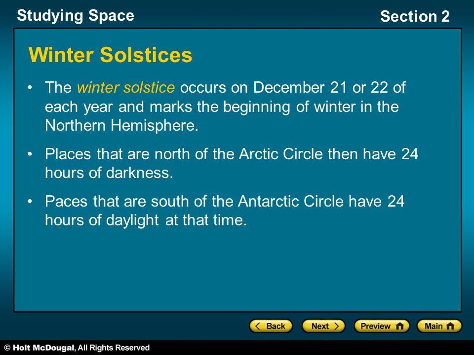 Winter Solstices The winter solstice occurs on December 21 or 22 of each year and marks the beginning of winter in the Northern Hemisphere.