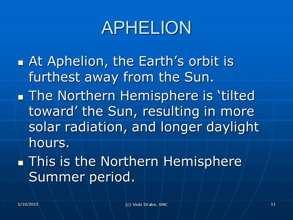 APHELION At Aphelion, the Earth's orbit is furthest away from the Sun.