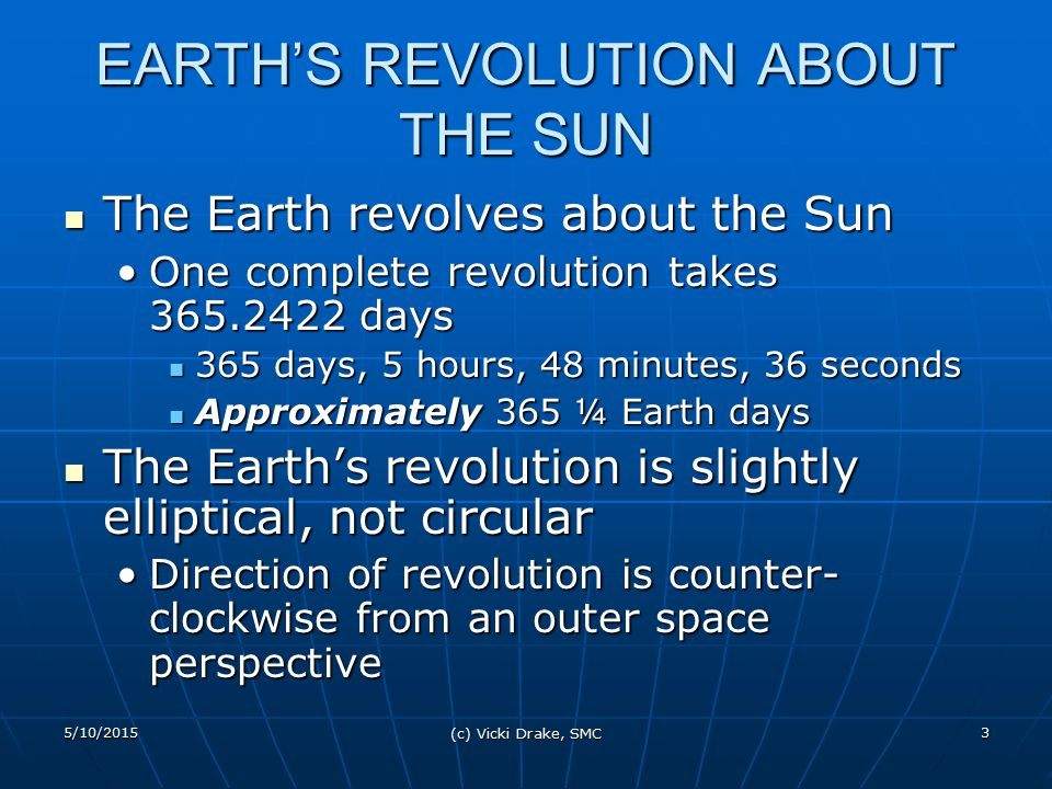 EARTH'S REVOLUTION ABOUT THE SUN