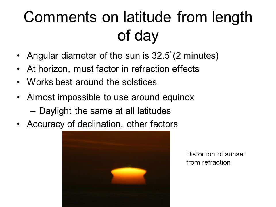 Comments on latitude from length of day