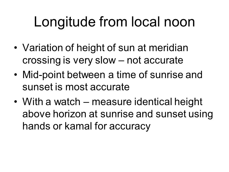 Longitude from local noon