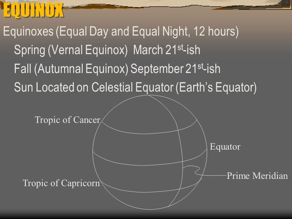 EQUINOX Equinoxes (Equal Day and Equal Night, 12 hours)