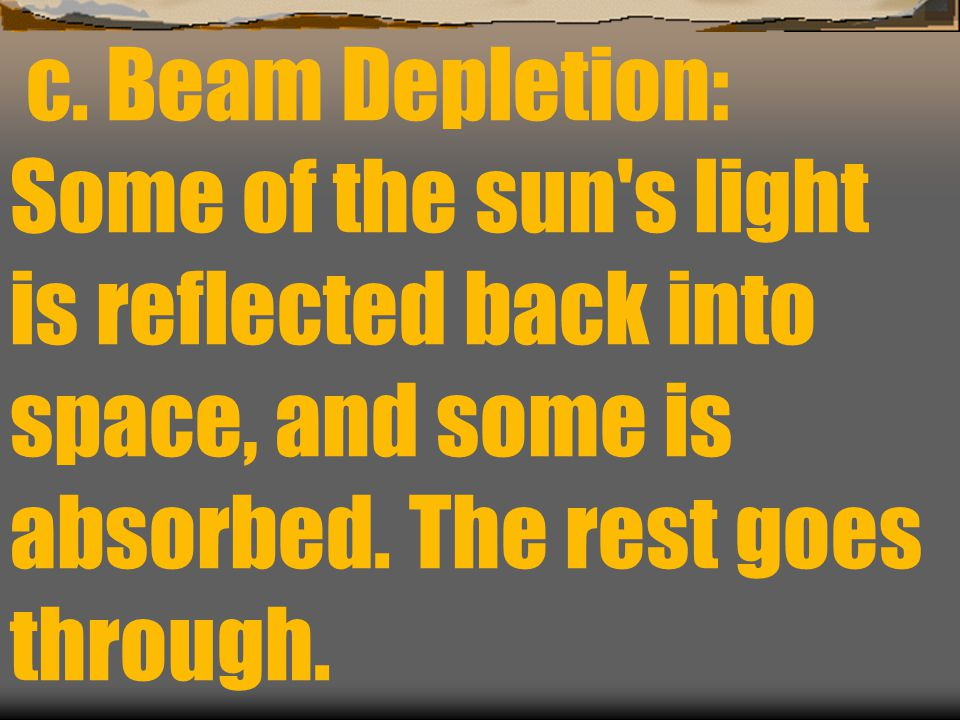 c. Beam Depletion: Some of the sun s light is reflected back into space, and some is absorbed.