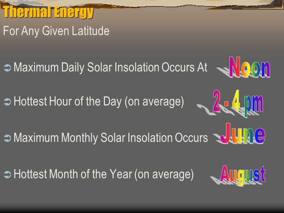 Thermal Energy Noon 2 - 4 pm June August For Any Given Latitude