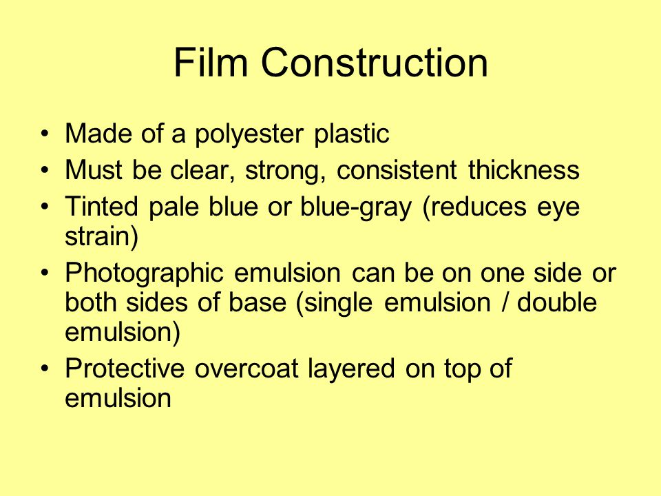 Film Construction Made of a polyester plastic