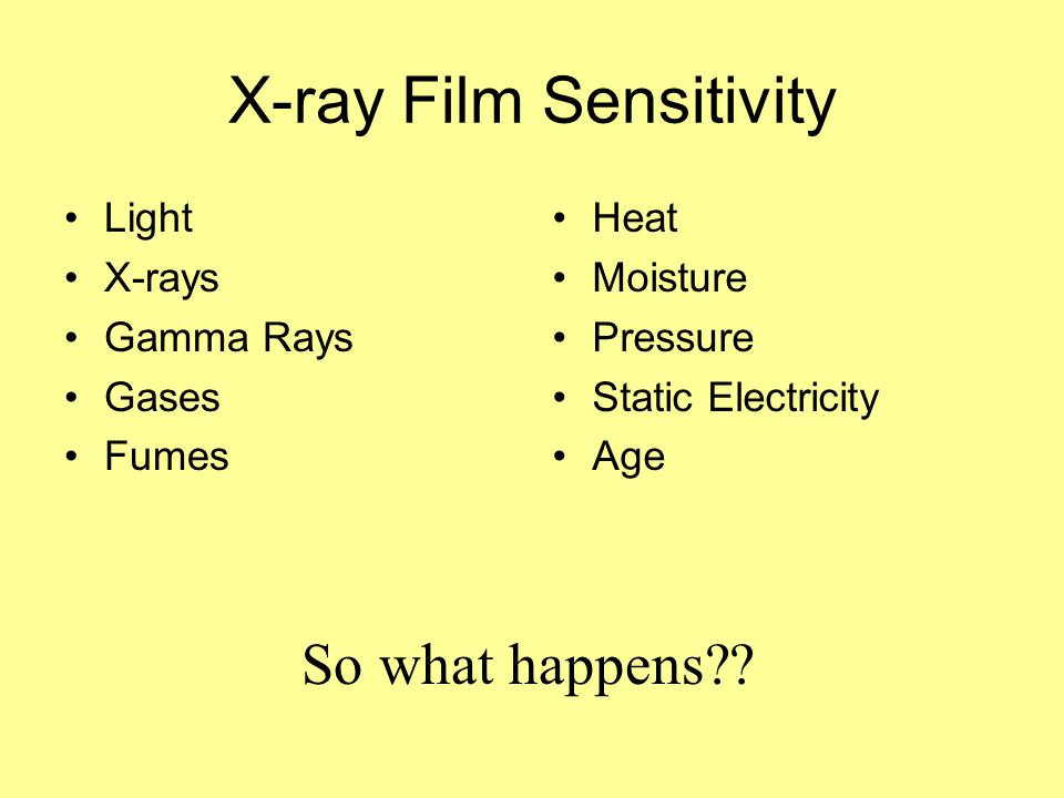 X-ray Film Sensitivity