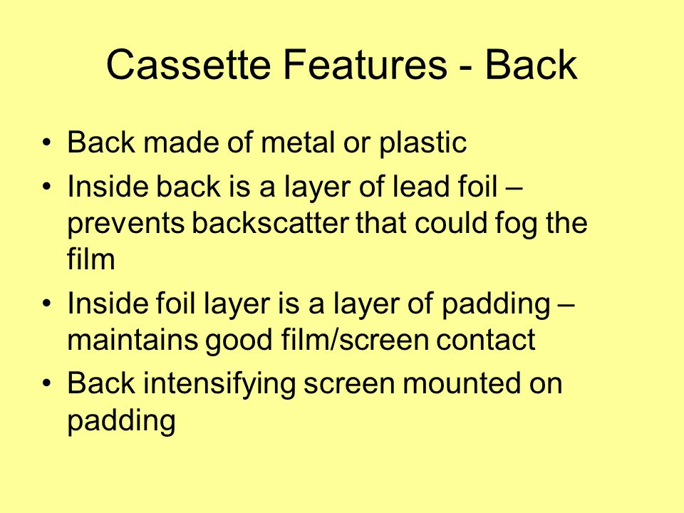 Cassette Features - Back