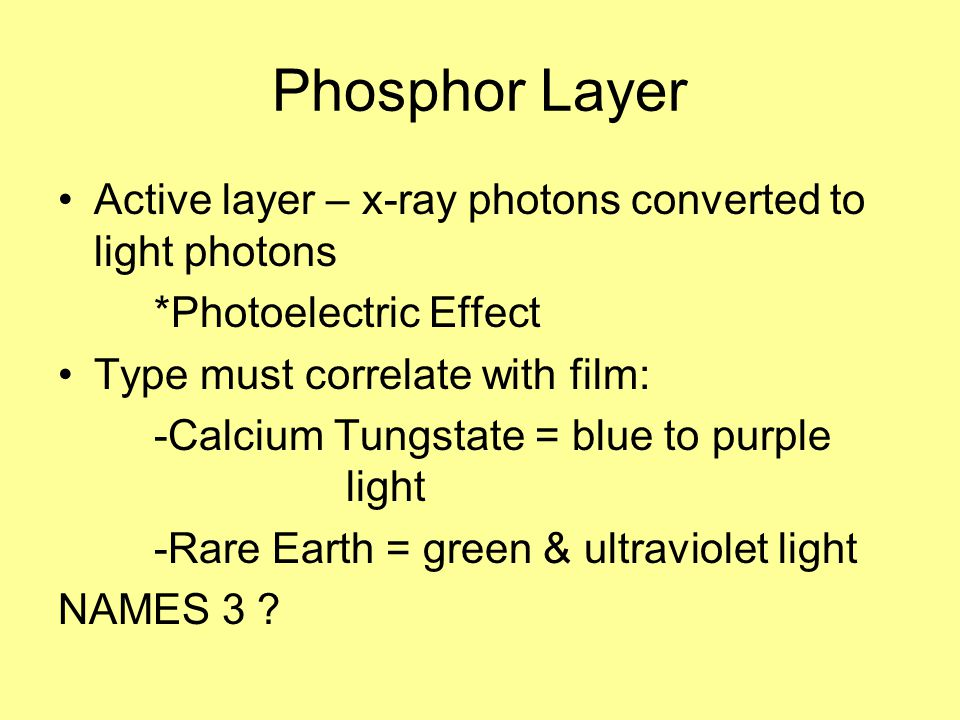 Phosphor Layer Active layer – x-ray photons converted to light photons