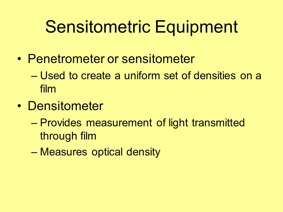 Sensitometric Equipment
