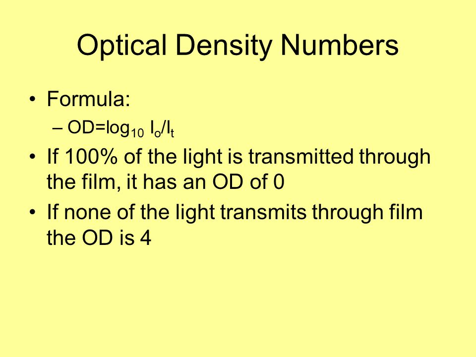 Optical Density Numbers