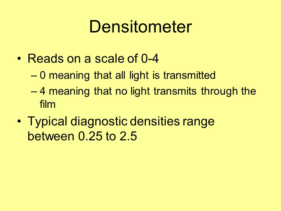 Densitometer Reads on a scale of 0-4