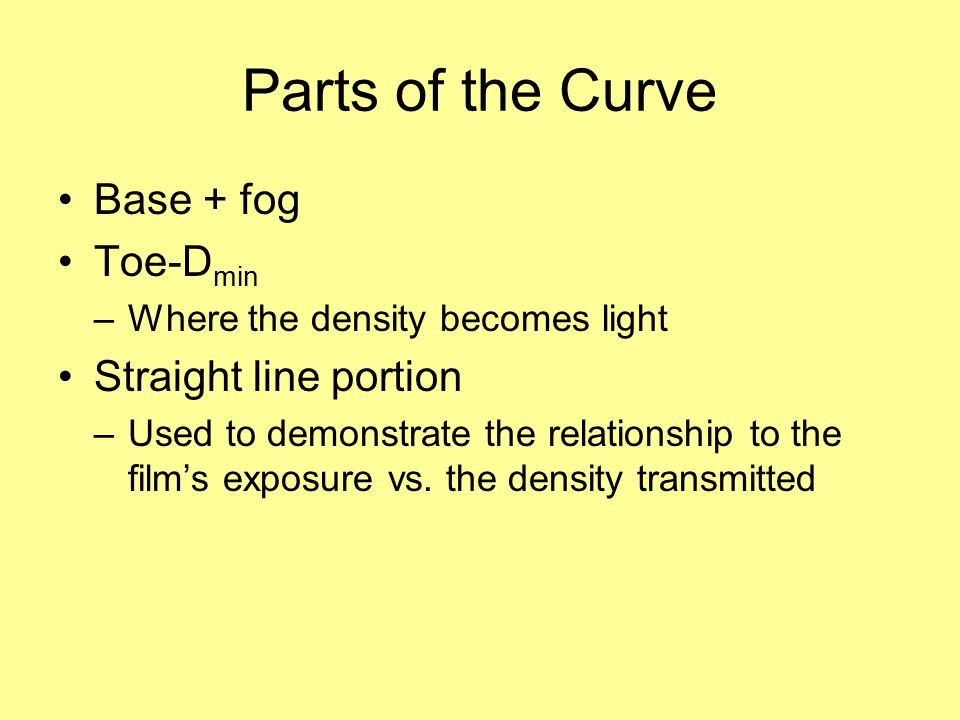 Parts of the Curve Base + fog Toe-Dmin Straight line portion