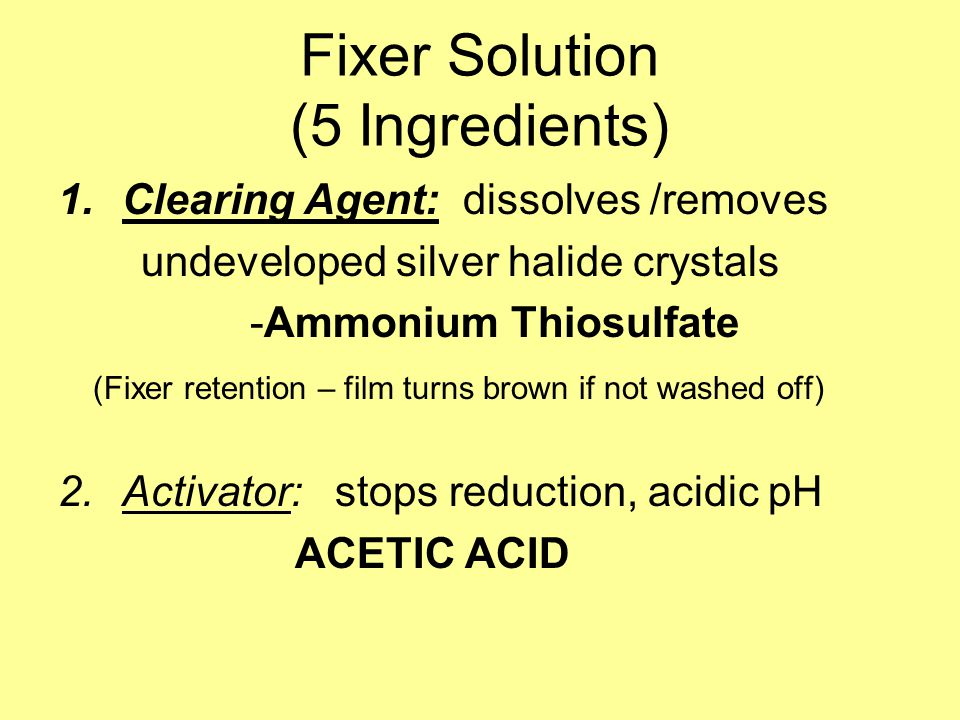 Fixer Solution (5 Ingredients)