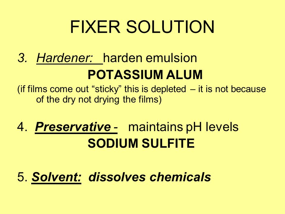 FIXER SOLUTION Hardener: harden emulsion POTASSIUM ALUM