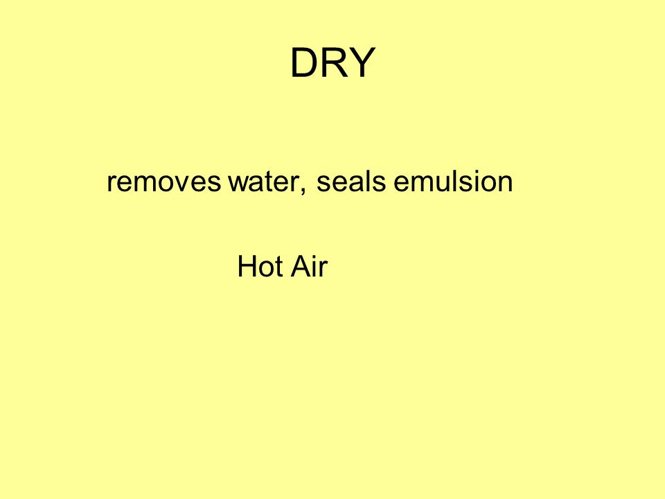 DRY removes water, seals emulsion Hot Air