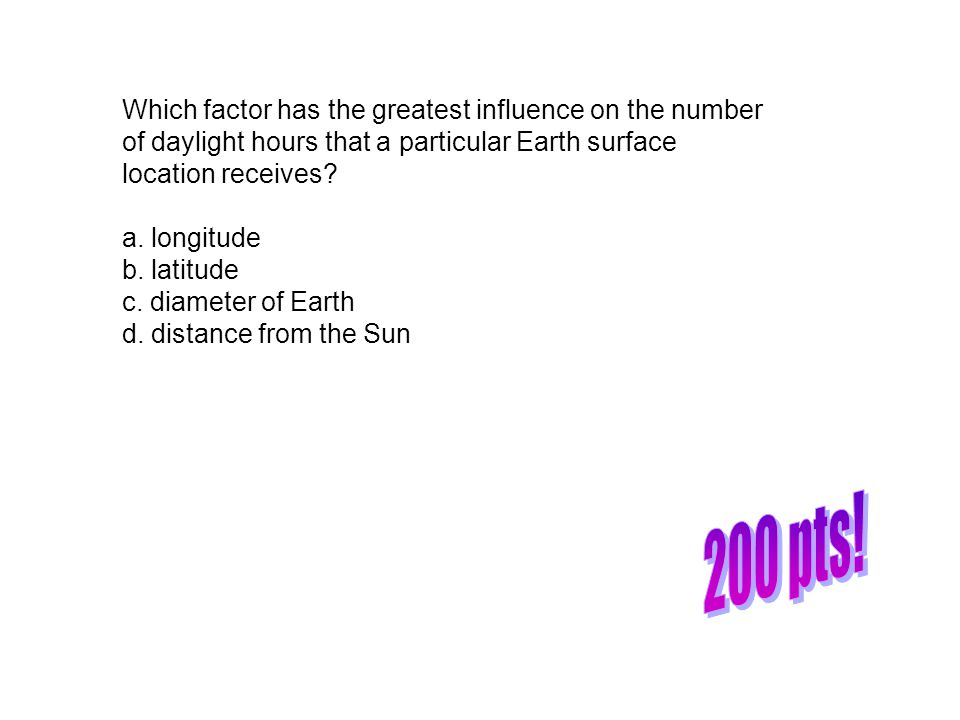 Which factor has the greatest influence on the number of daylight hours that a particular Earth surface location receives