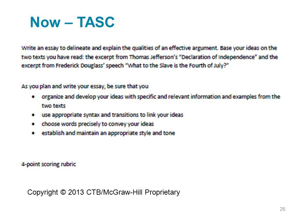 Now – TASC Copyright © 2013 CTB/McGraw-Hill Proprietary