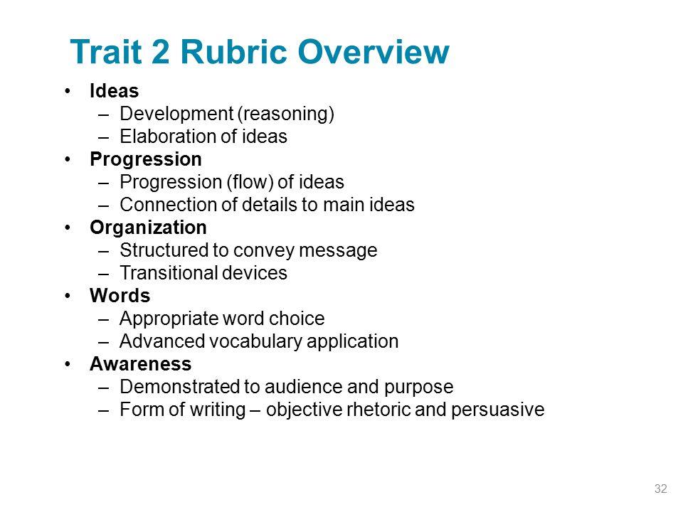 Trait 2 Rubric Overview Ideas Development (reasoning)