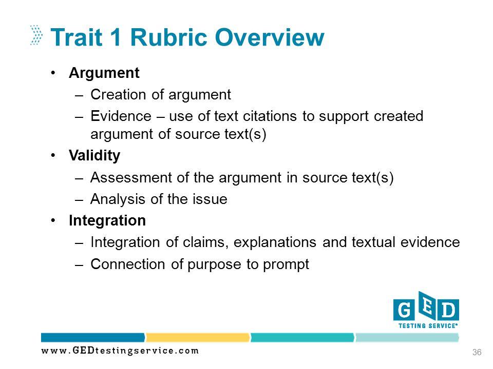 Trait 1 Rubric Overview Argument Creation of argument