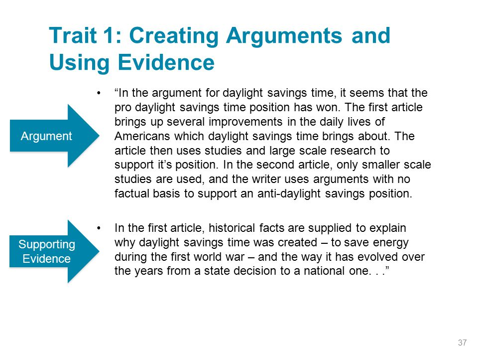 Trait 1: Creating Arguments and Using Evidence