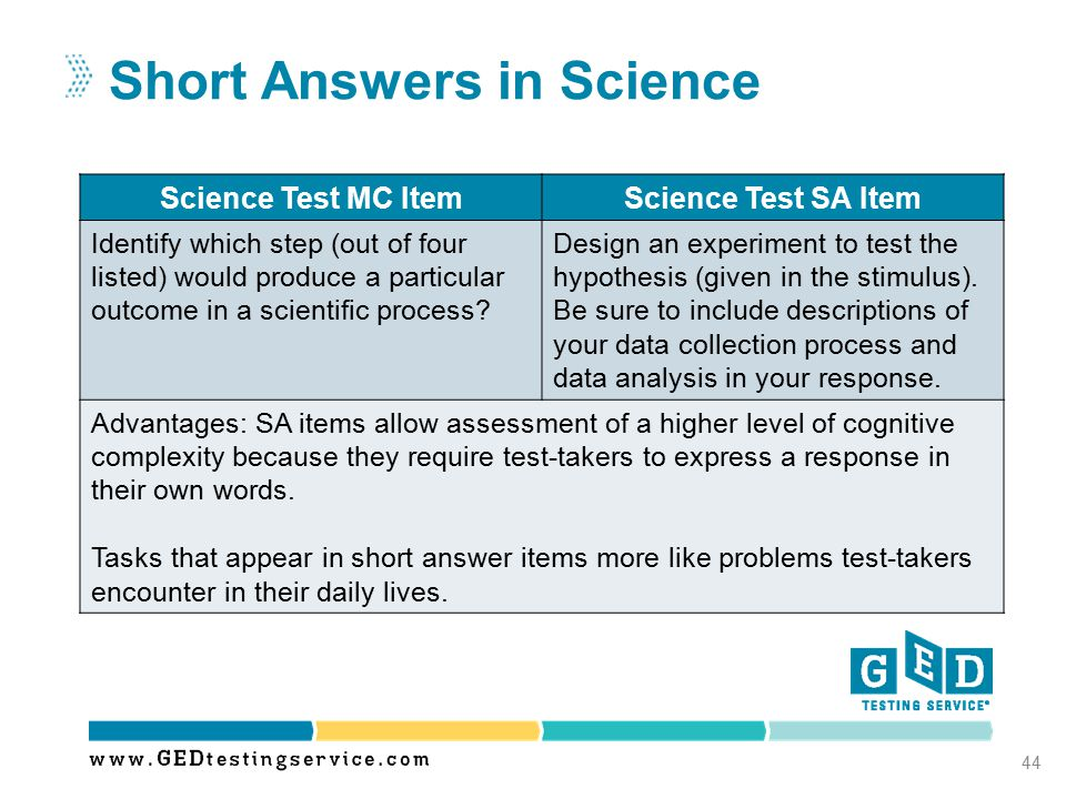 Short Answers in Science