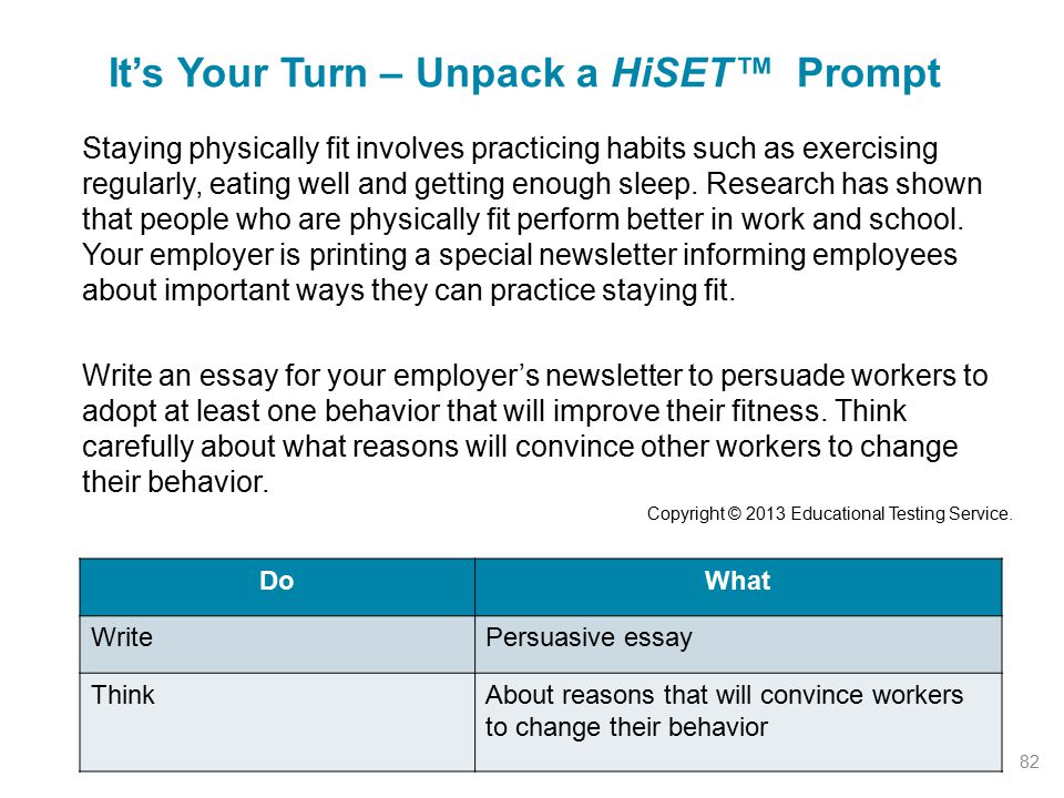 It's Your Turn – Unpack a HiSET™ Prompt