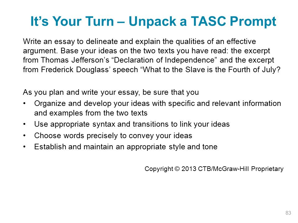 It's Your Turn – Unpack a TASC Prompt