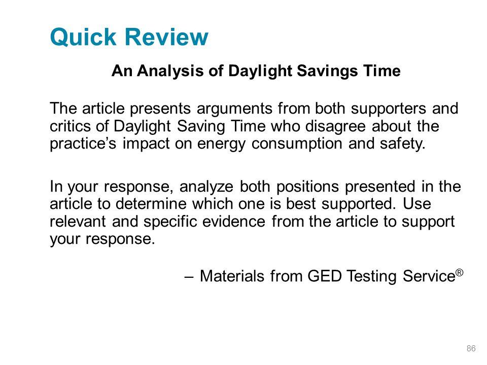 An Analysis of Daylight Savings Time
