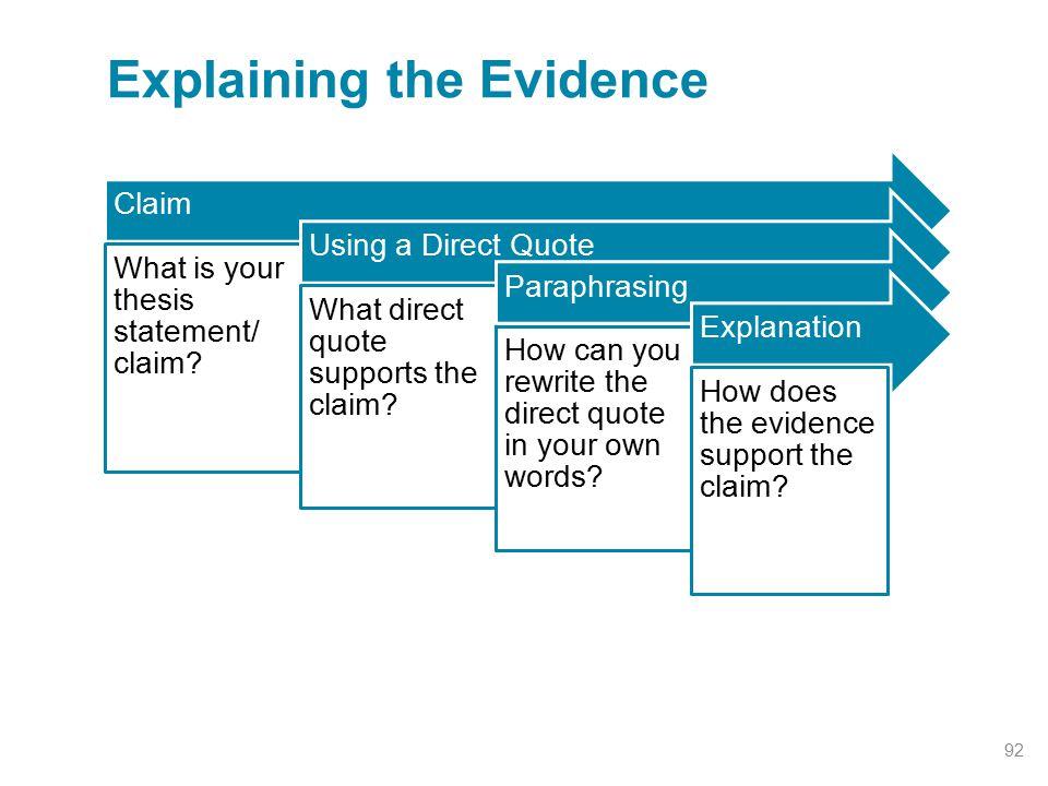 Explaining the Evidence