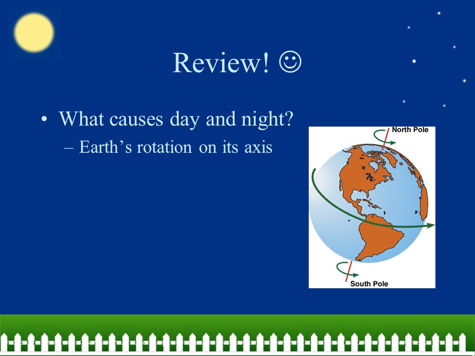 Review!  What causes day and night Earth's rotation on its axis