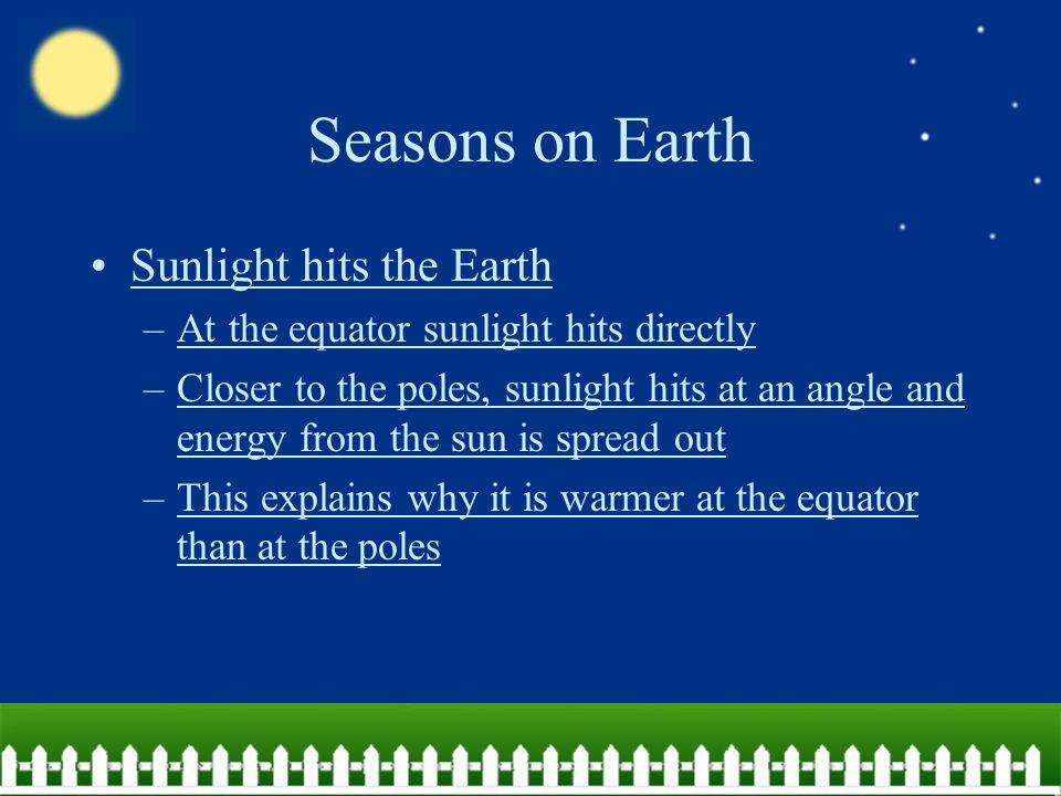Seasons on Earth Sunlight hits the Earth