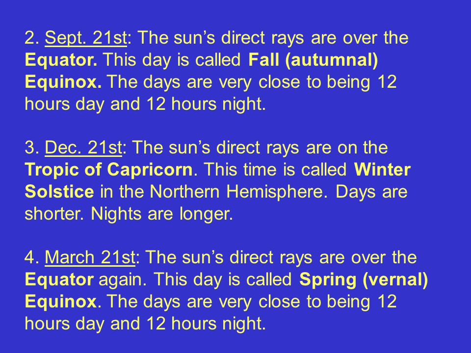 2. Sept. 21st: The sun's direct rays are over the Equator