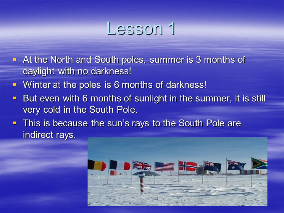 Lesson 1 At the North and South poles, summer is 3 months of daylight with no darkness! Winter at the poles is 6 months of darkness!