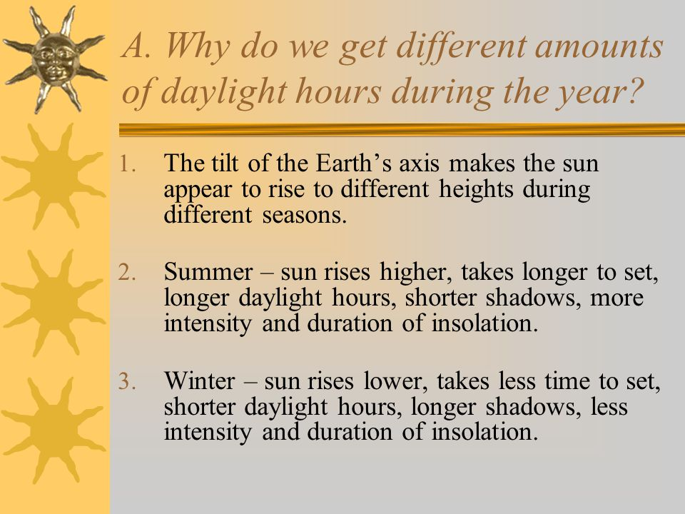 A. Why do we get different amounts of daylight hours during the year