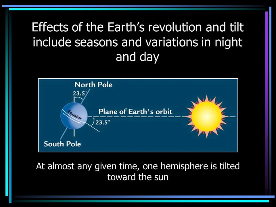 At almost any given time, one hemisphere is tilted toward the sun