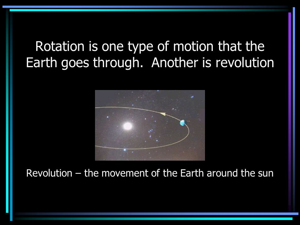 Revolution – the movement of the Earth around the sun