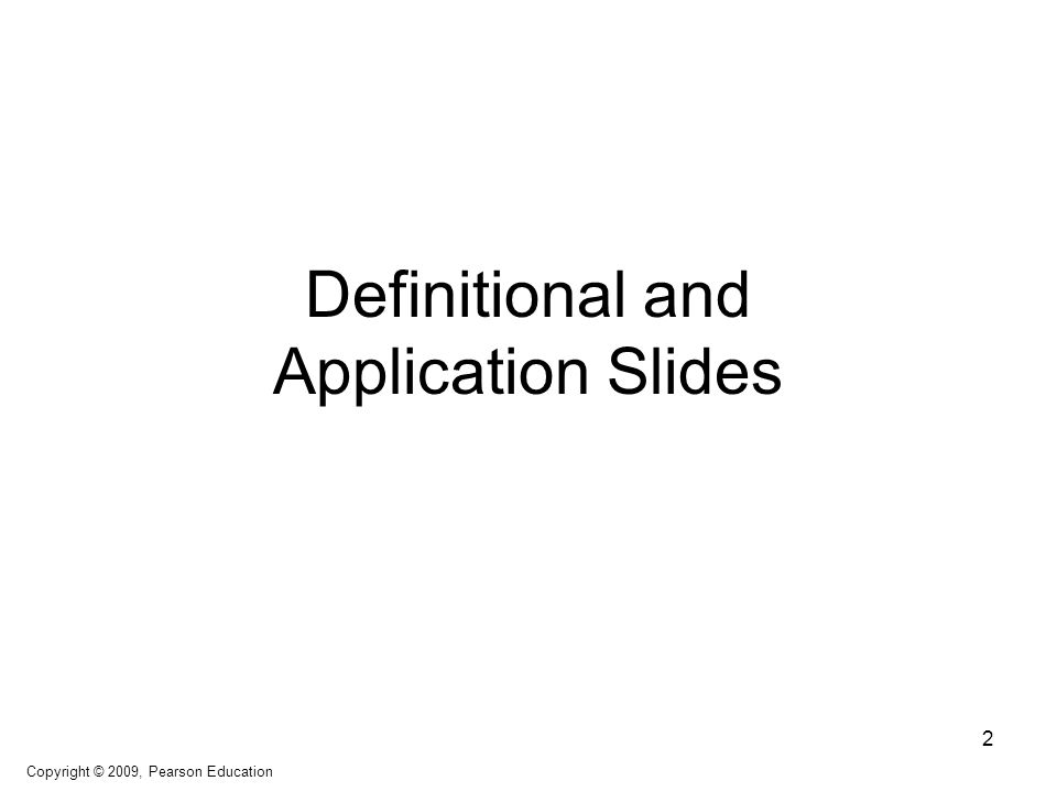 Definitional and Application Slides