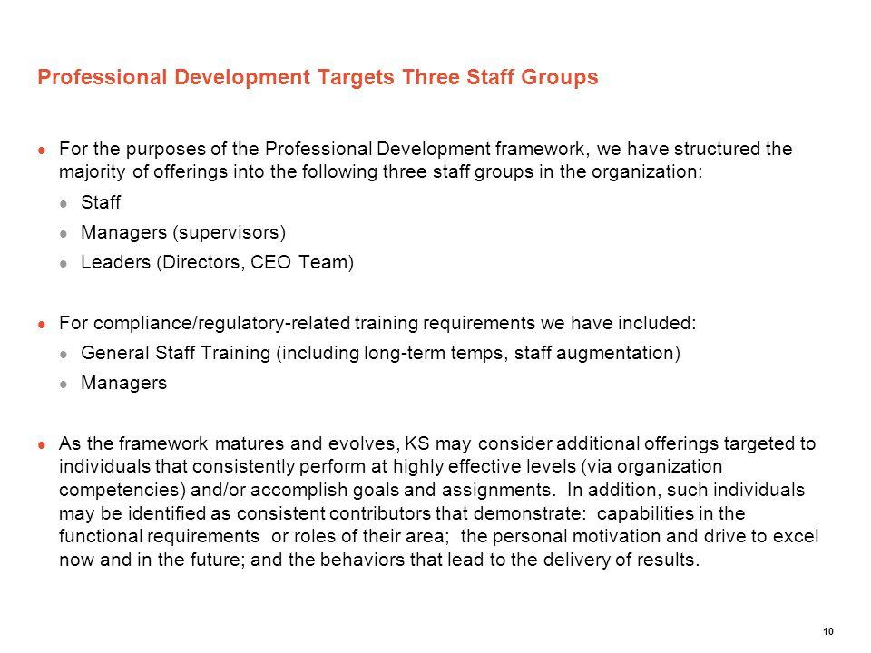 Professional Development Targets Three Staff Groups