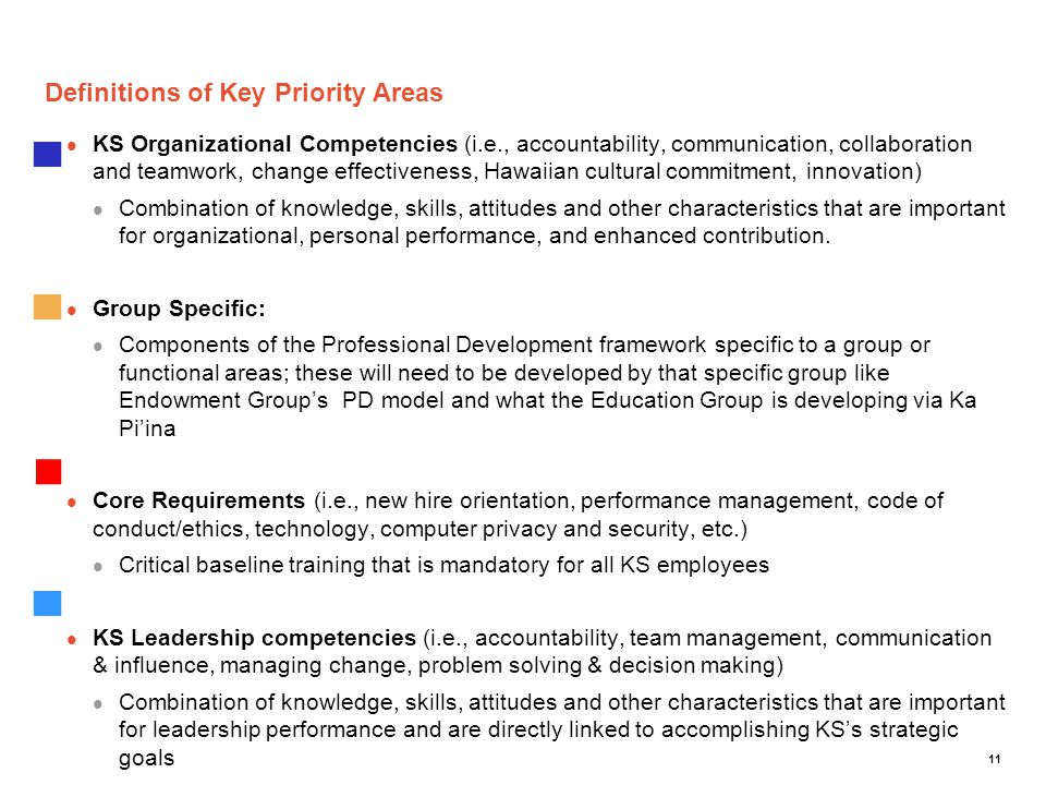 Definitions of Key Priority Areas