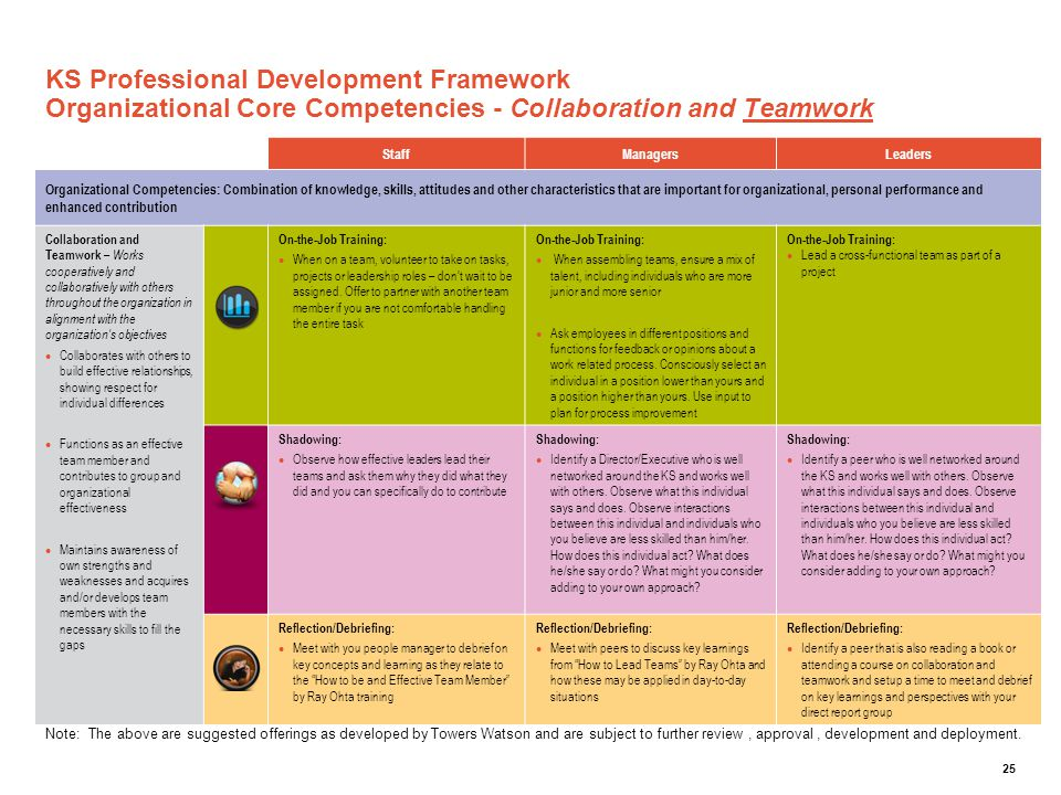 KS Professional Development Framework Organizational Core Competencies - Collaboration and Teamwork