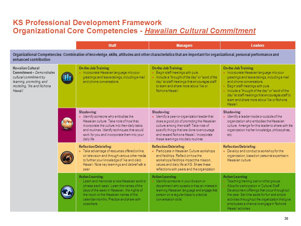 KS Professional Development Framework Organizational Core Competencies - Hawaiian Cultural Commitment